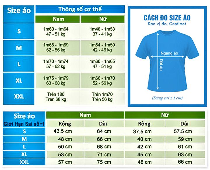 Bảng thông số size áo thun đồng phục tại maydongphucgiarevn.com